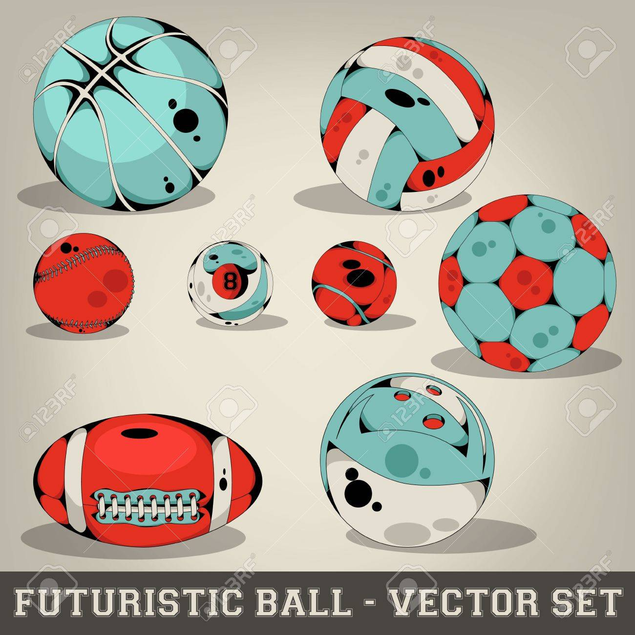 Futuristic Ball Vector Set Stock Vector - 19745521