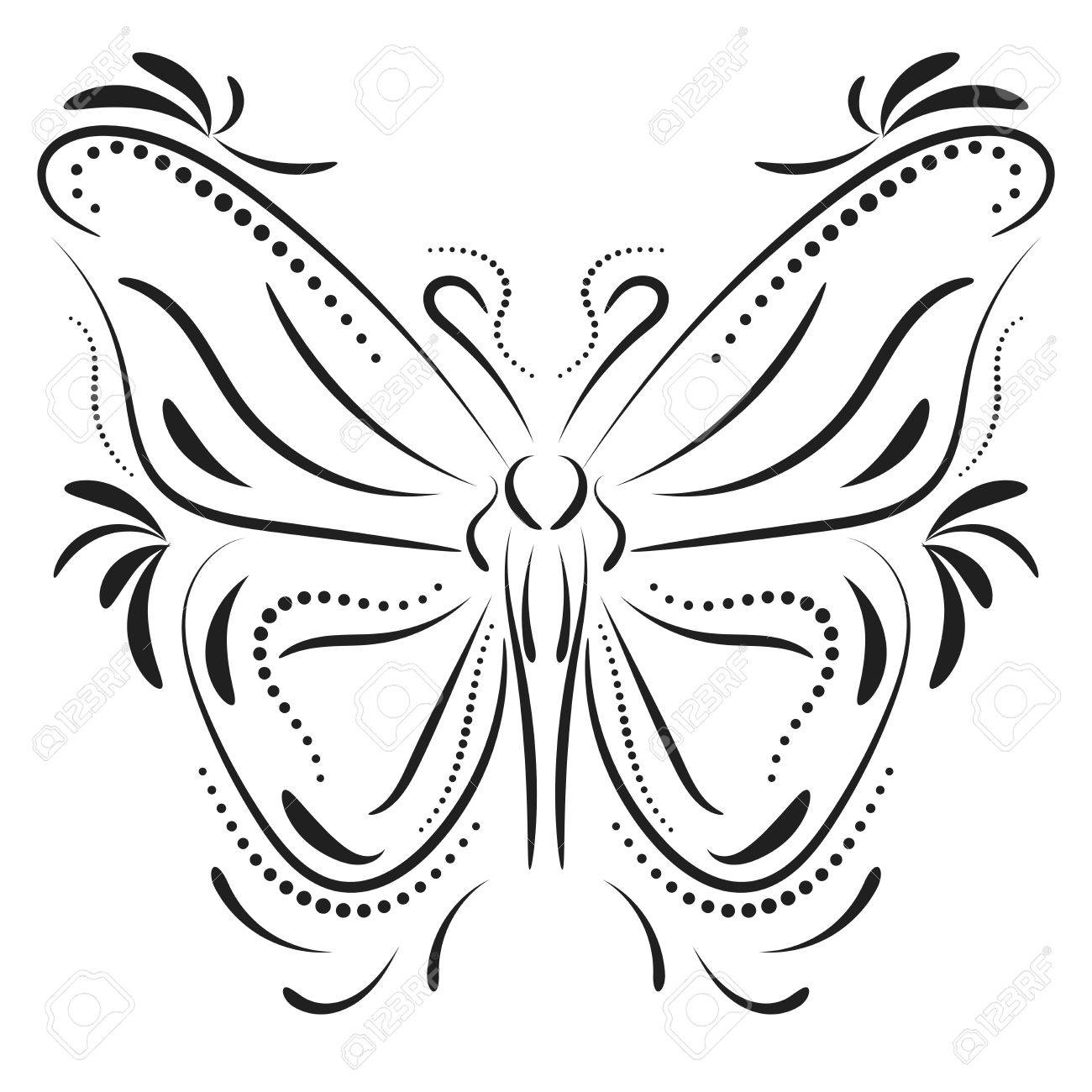 a02e9630789d2 Decorative Butterfly Element Tattoo Royalty Free Cliparts, Vectors ...