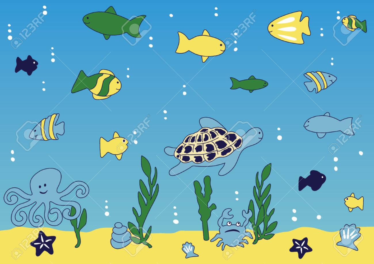 cean and sea life  vector illustration Stock Vector - 1430916