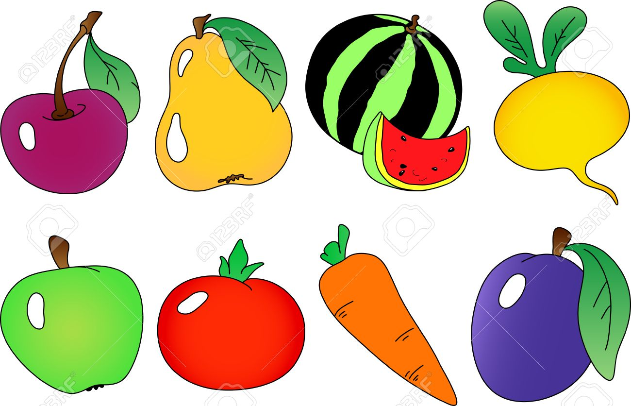 Fruits and berries collection. Fully editable, easy color change. Stock Vector - 1986290
