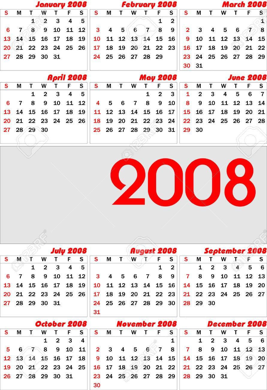 Calendario 2008.Vector Europea Calendario 2008 Completamente Editable Facil Cambio De Color