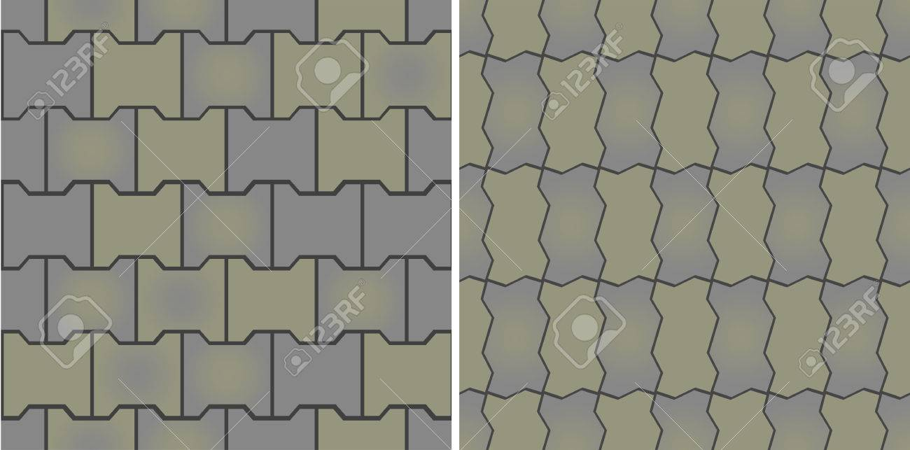 Seamless patterns of pavement. Vector illustration. Fully editable, easy color change. Stock Vector - 3087145