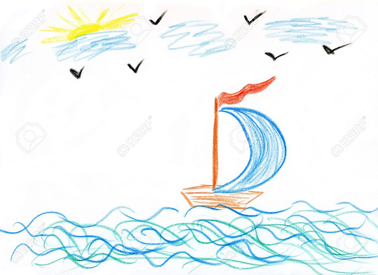 childrens paint ship in sea stock photo 3411657 - Paint Drawing For Kids