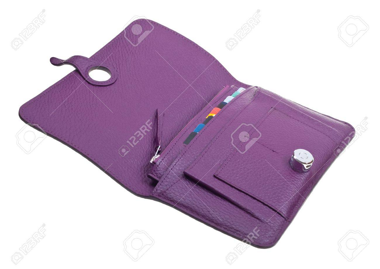 Purple womens leather open wallet isolated on white background Stock Photo - 6802535