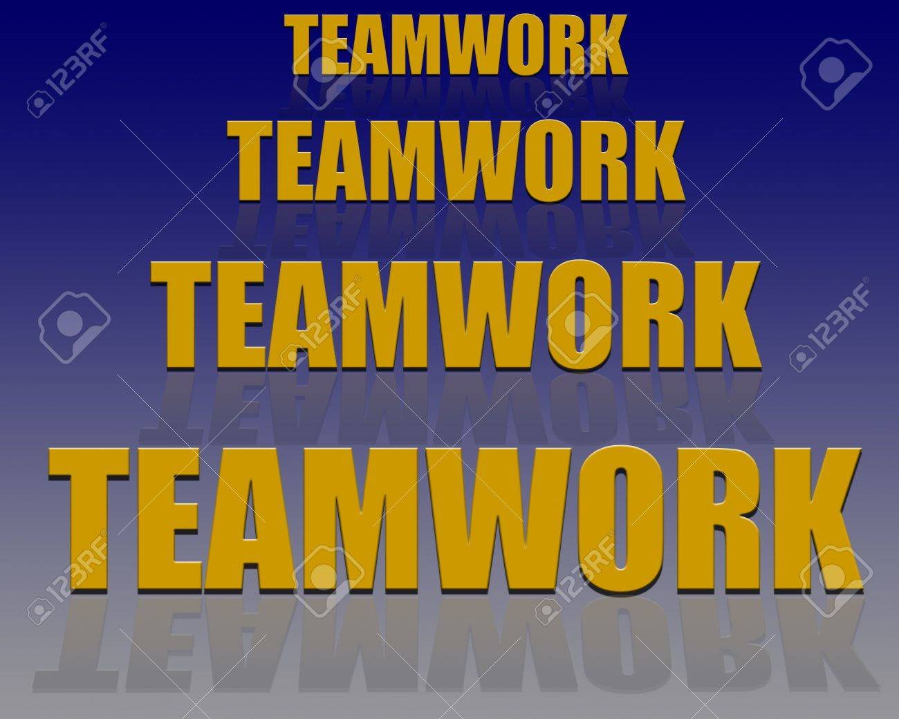3D text with reflection with emphasis on the text Teamwork Stock Photo - 2651832