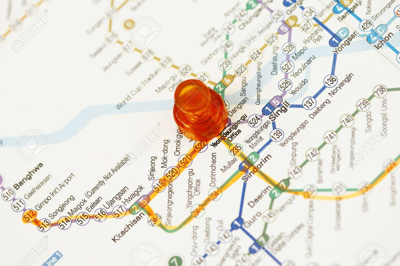 Subway Map Of Seoul Korea Meeting Place Concept Stock Photo