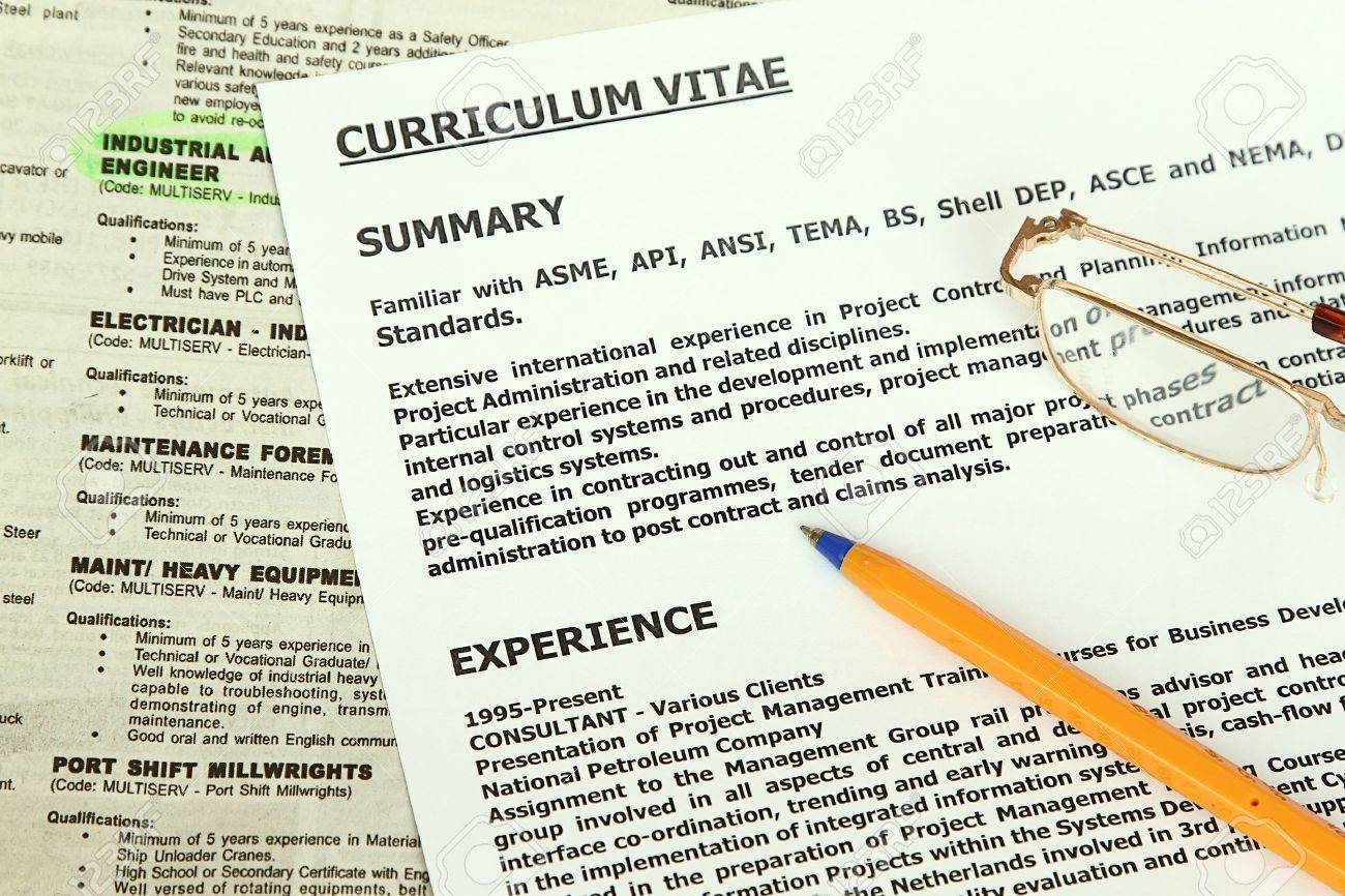 curriculum vitae form beside classified ads with engineer