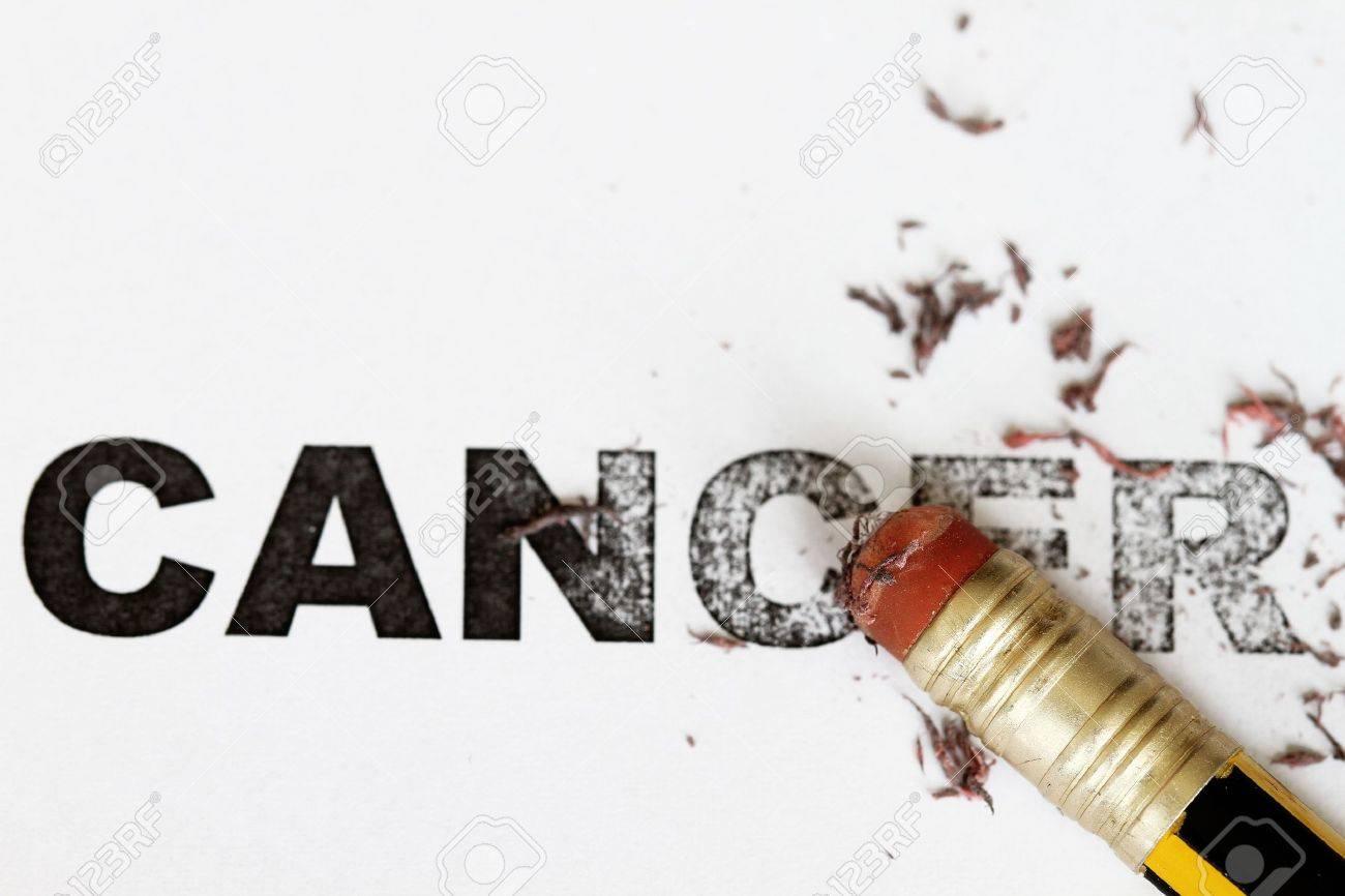 Eradicate remove cancer concept as eraser erase the word cancel. Stock Photo - 6439537