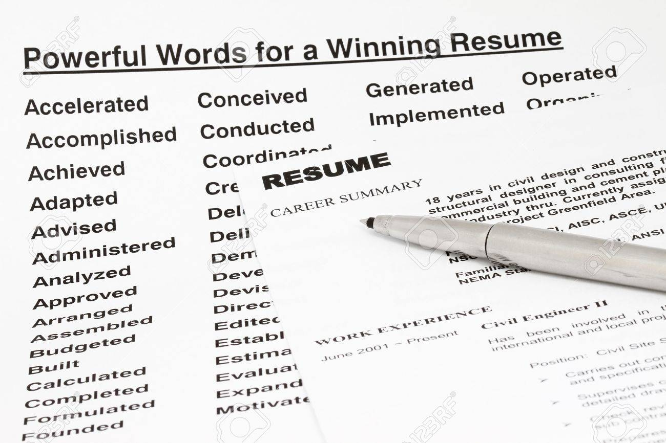 Powerful words for winning a resume- manu uses for employment sector. Stock Photo - 6870681