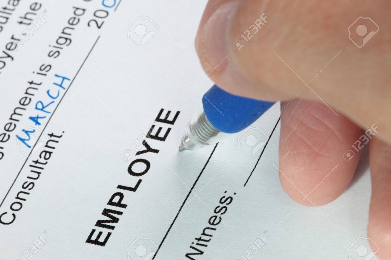 Contract signing of an employment contract close-up shot Stock Photo - 7780400