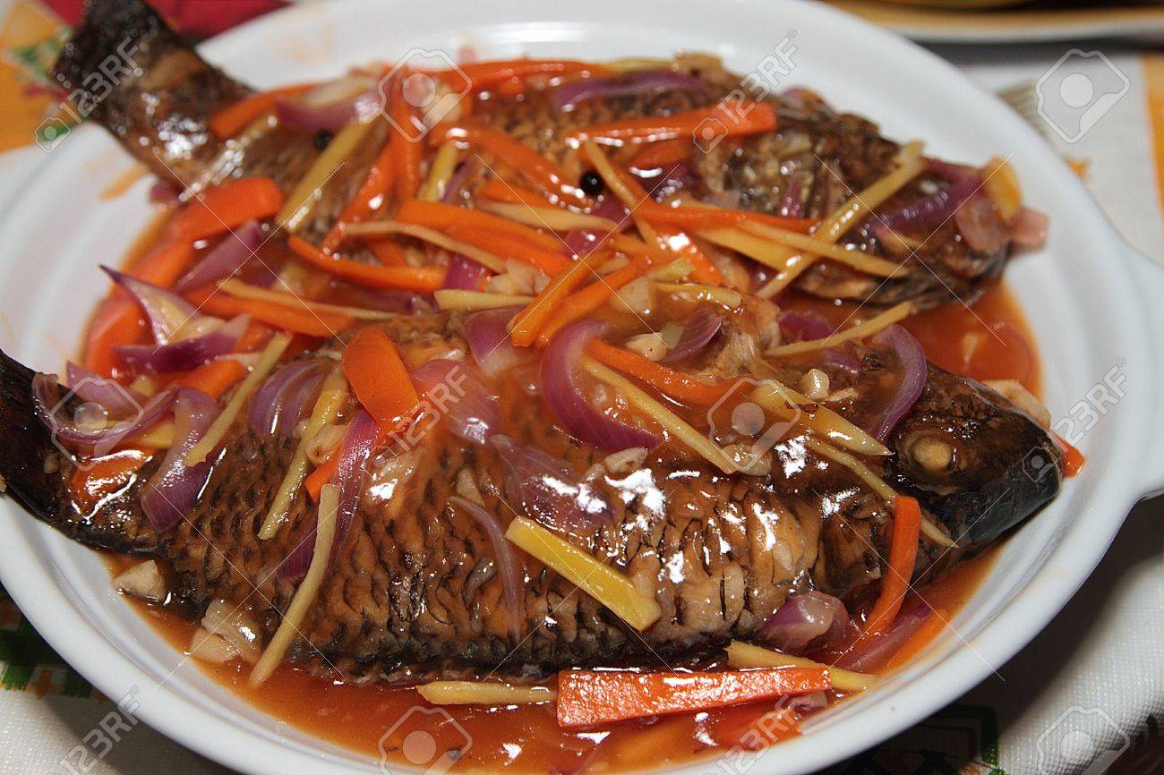 Fried Fish With Vegetable And Sweet And Sour Soup Stock Photo 8632706