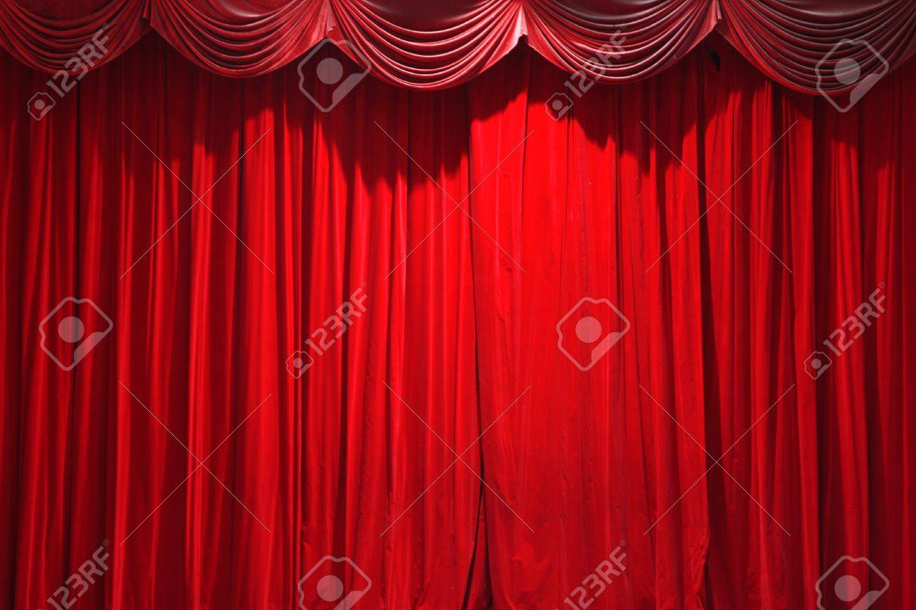 Closed theater curtains - Stock Photo Red Closed Curtain Of A Classical Theater