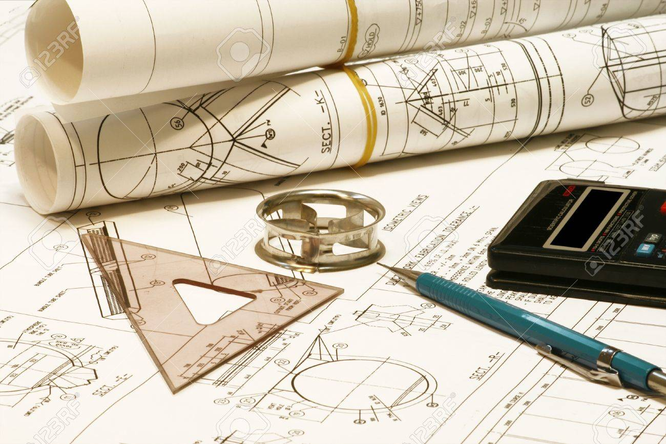 Roll Of Blueprints With Pencil And Templates. Stock Photo, Picture ...