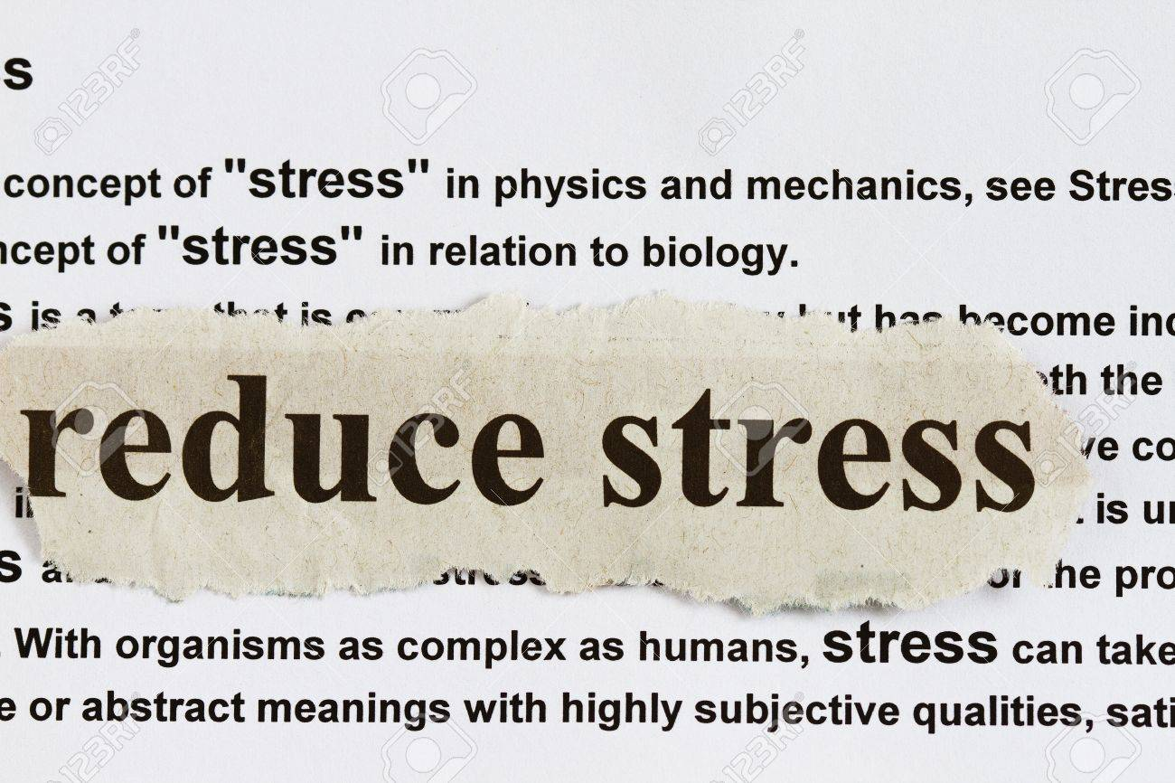 reduce stress abstract with newspaper cutout and definition of