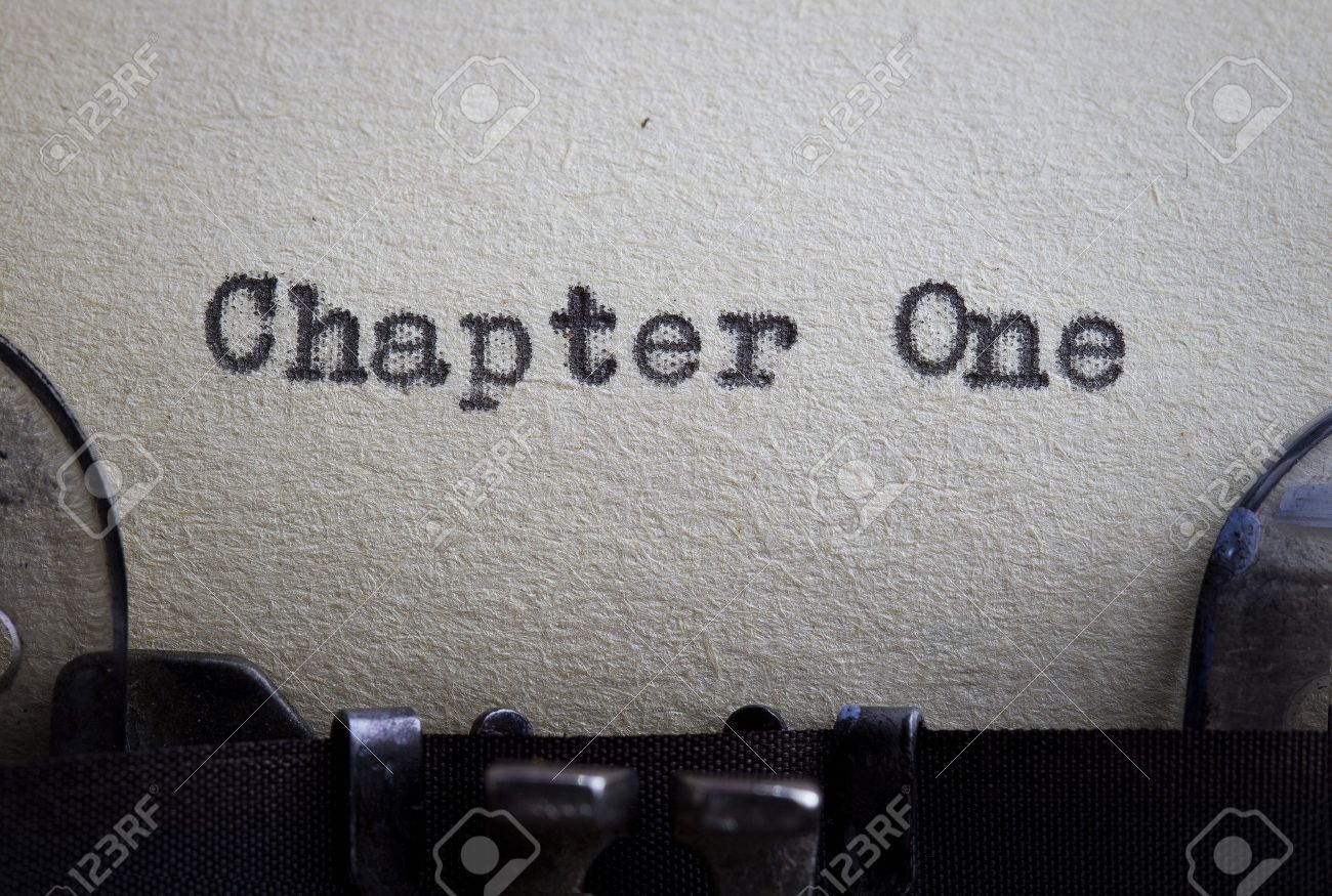 Chapter one typewitten on a vintage paper starting a story or novel concept. Stock Photo - 13858250