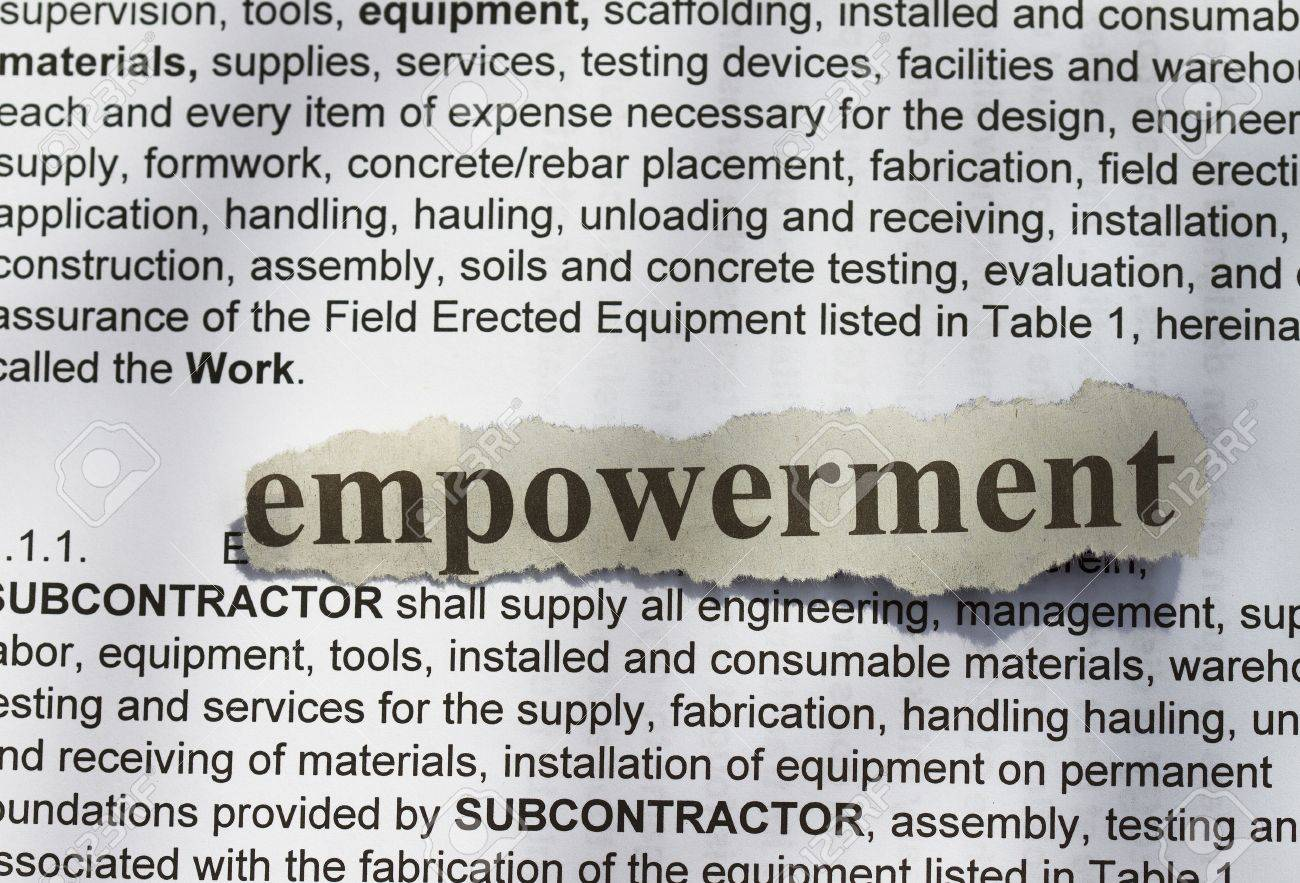 empowerment- text in blur with definition abstract stock photo