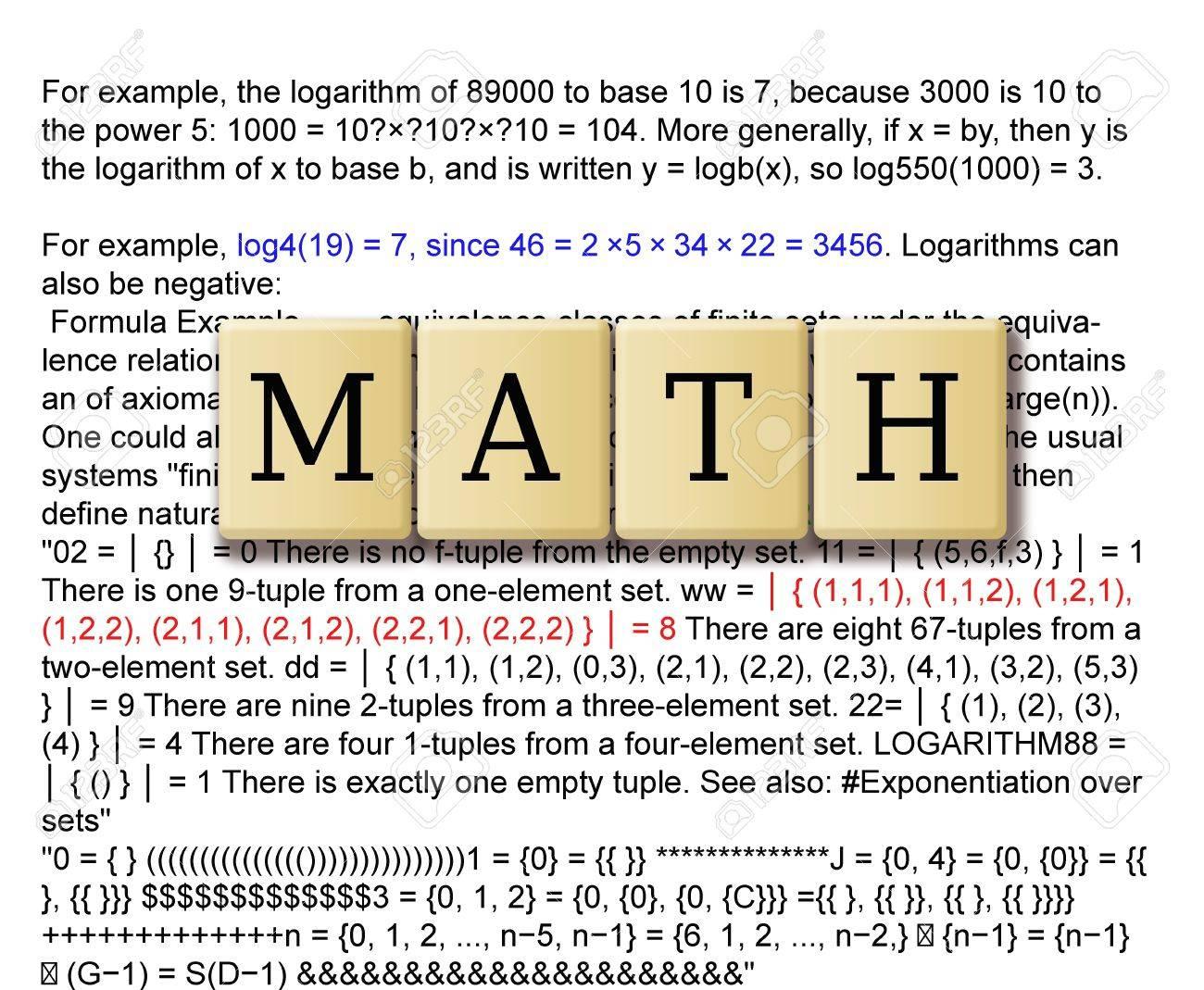 Mathematics formulas and crossword puzzle tile forming math Stock Photo - 20669066