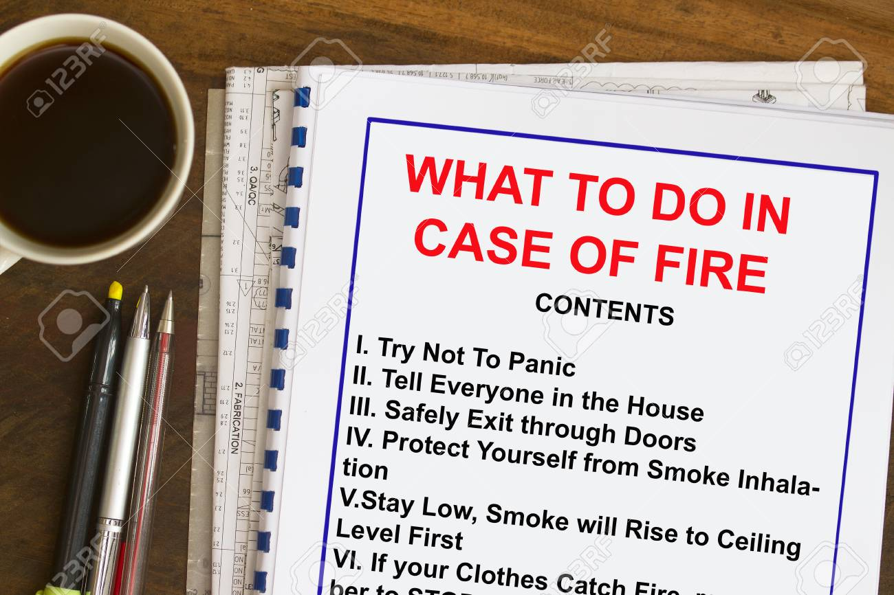 What To Do In Case Of Fire Concept- Complete With Contents Stock Photo,  Picture And Royalty Free Image. Image 86668651.