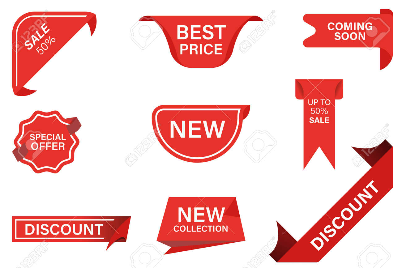 Vector red ribbons banner flat icon set. Best price, coming soon, special offer, new collection, sale and discount stickers isolated vector illustration collection. - 169619160