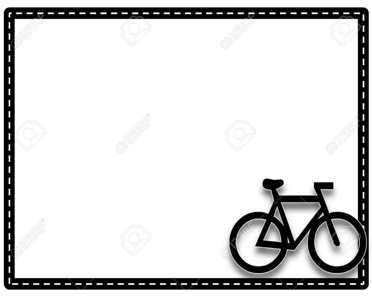 Picture frame bike or cycling with a white background and border colors style 1 Stock Photo - 28189069