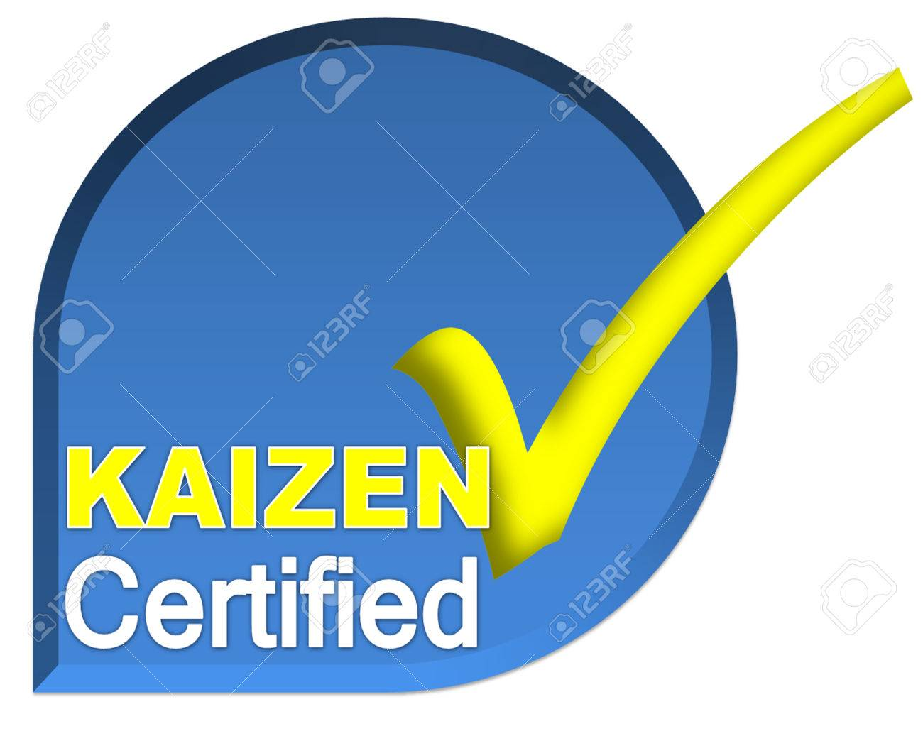 Certificate Logo Or Symbol Of Kaizen System On Blue Color