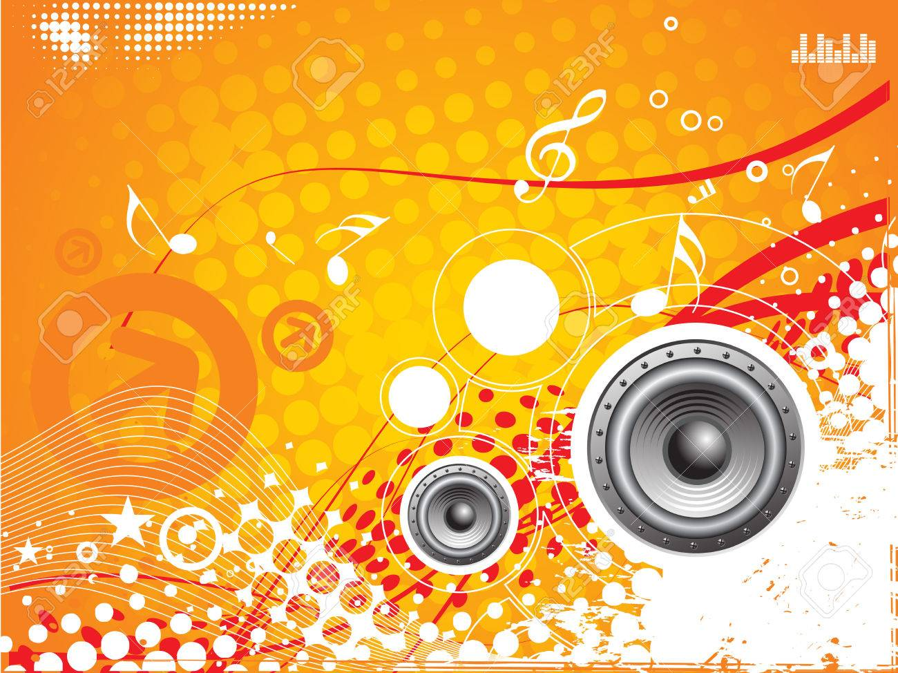 music vector composition wih grunge halftone background Stock Vector - 4489931