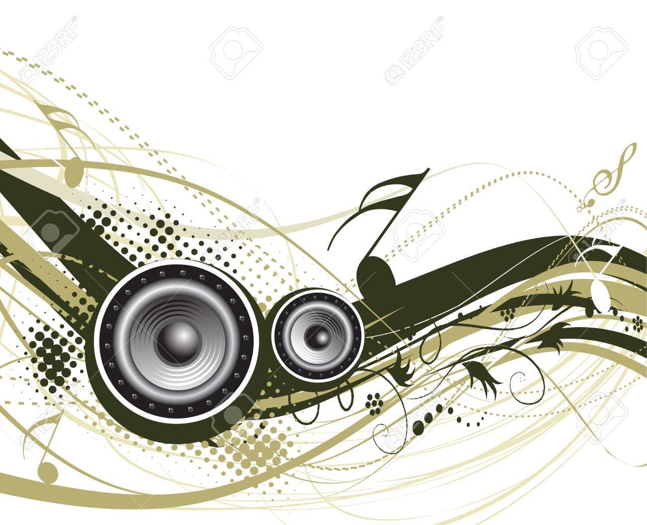 Music notes with halftone wave lien background Stock Vector - 4743560