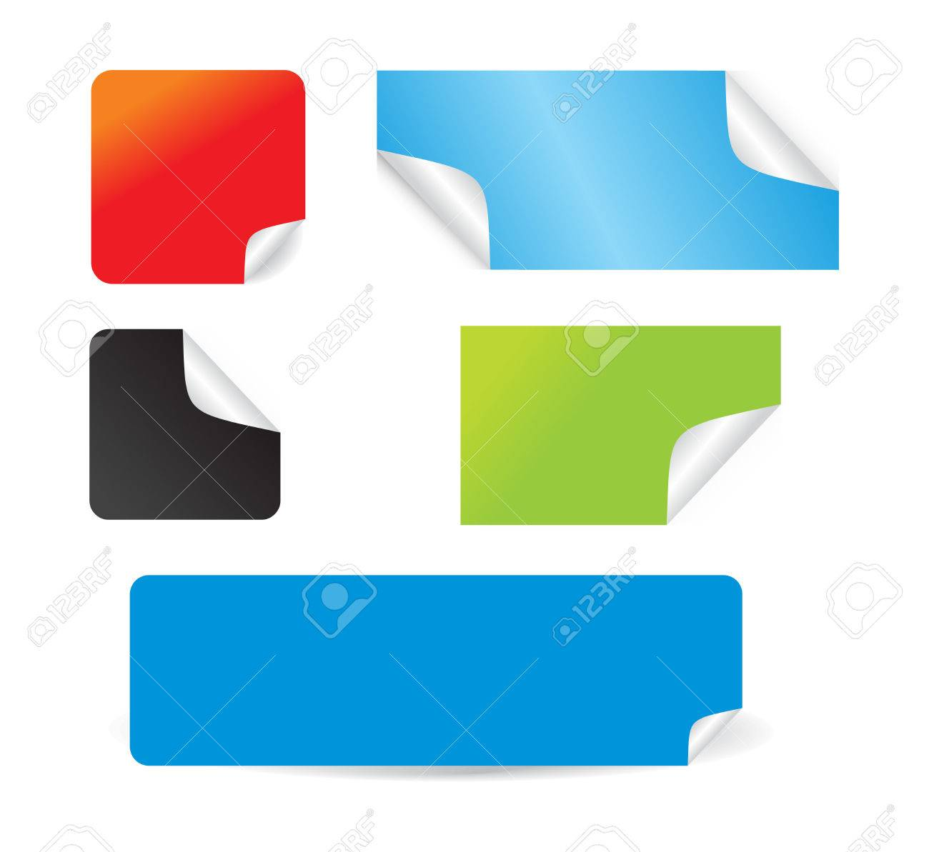 Set of beautiful vector stickers with corners fresh labels Stock Vector - 4743415