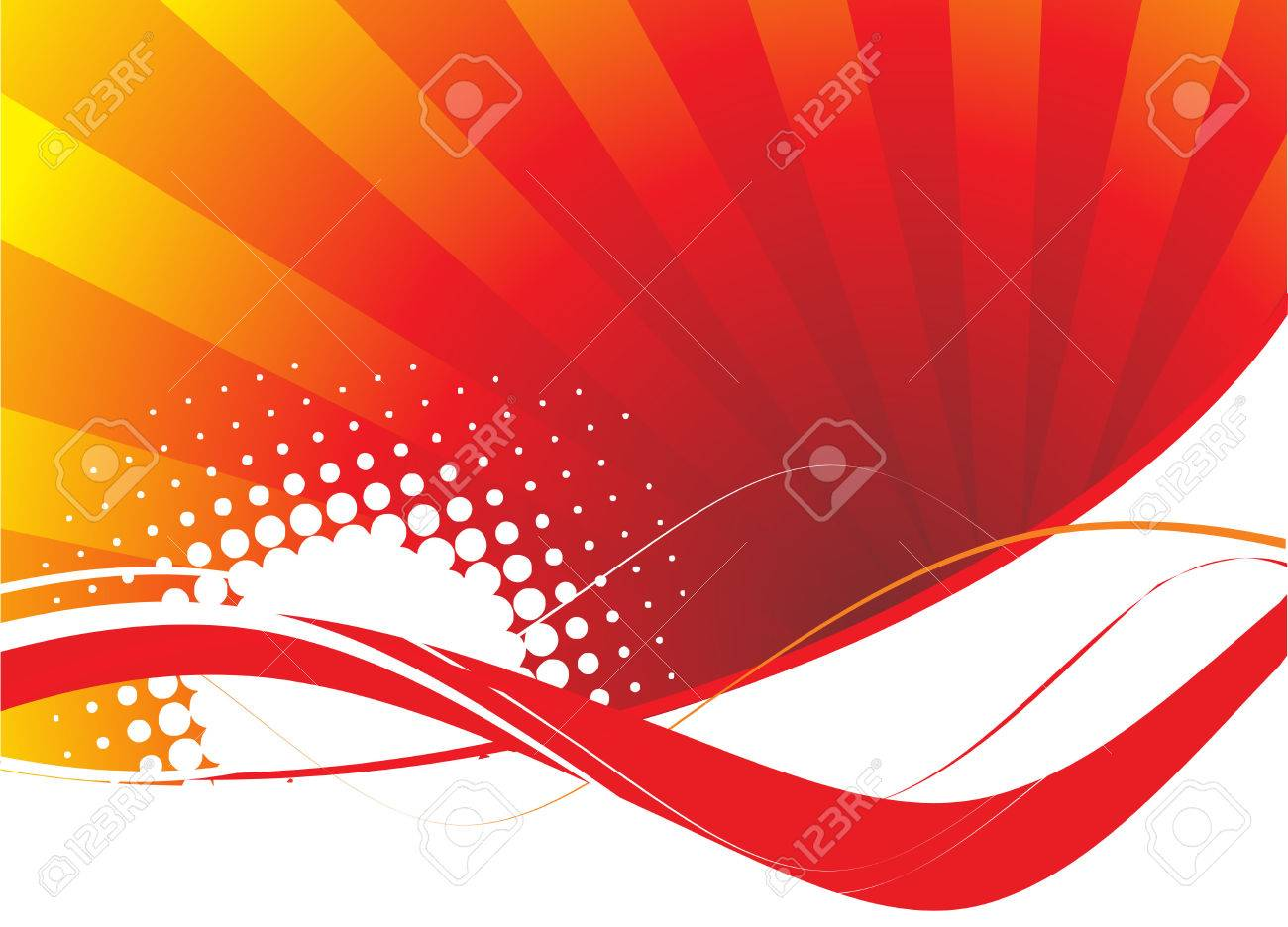 abstract red wave halftone lines background Stock Vector - 4743392