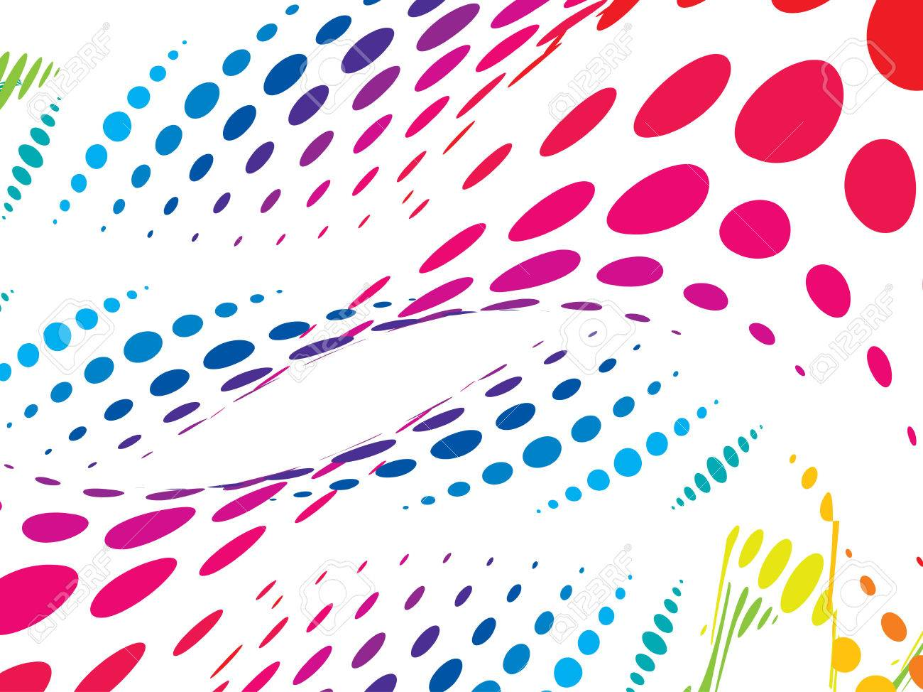 Color halftone printing - Vector Multi Color Wave Halftone Background
