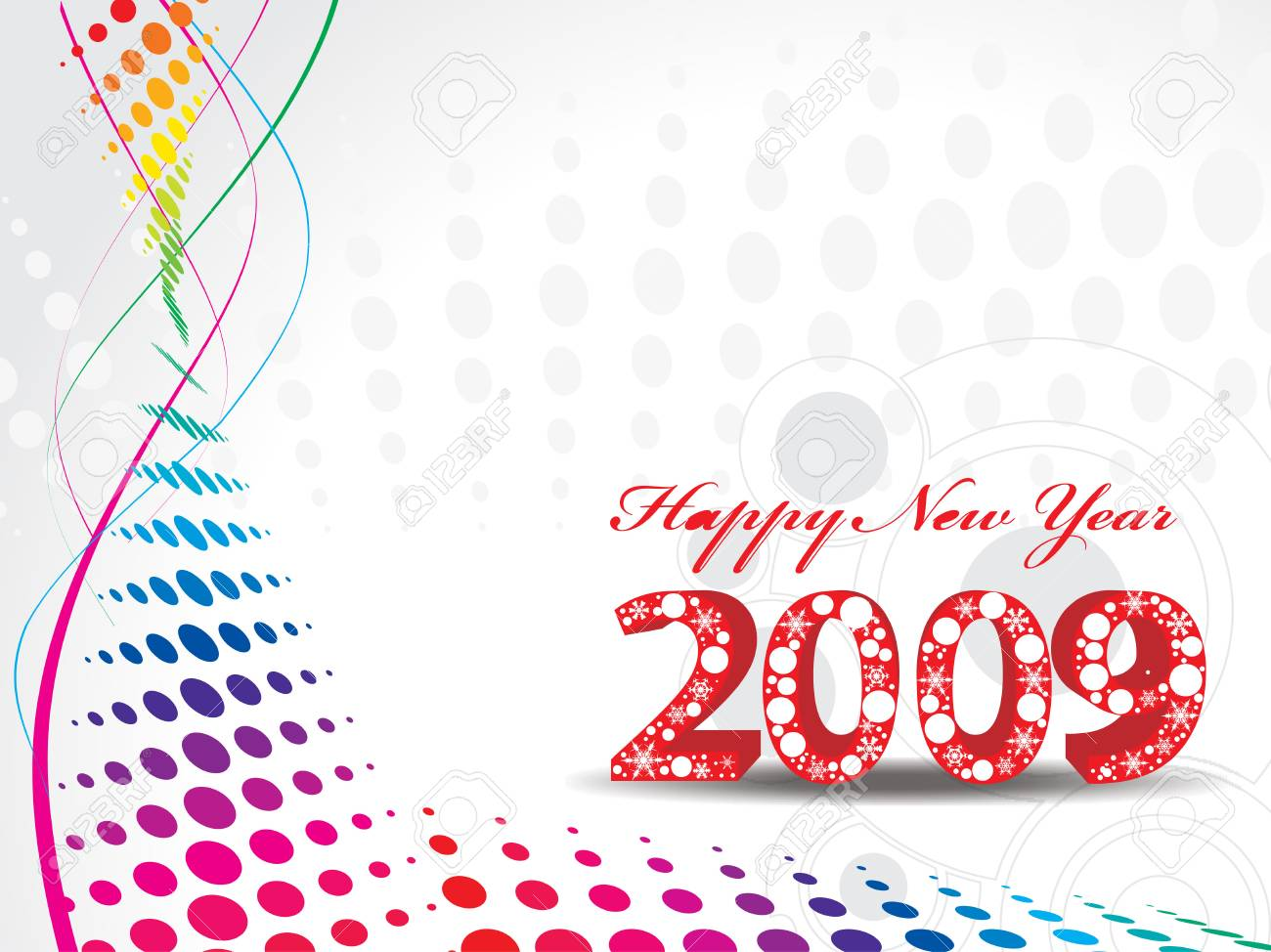 2009 wave halftone new year composition.Vector illustration Stock Vector - 4770947