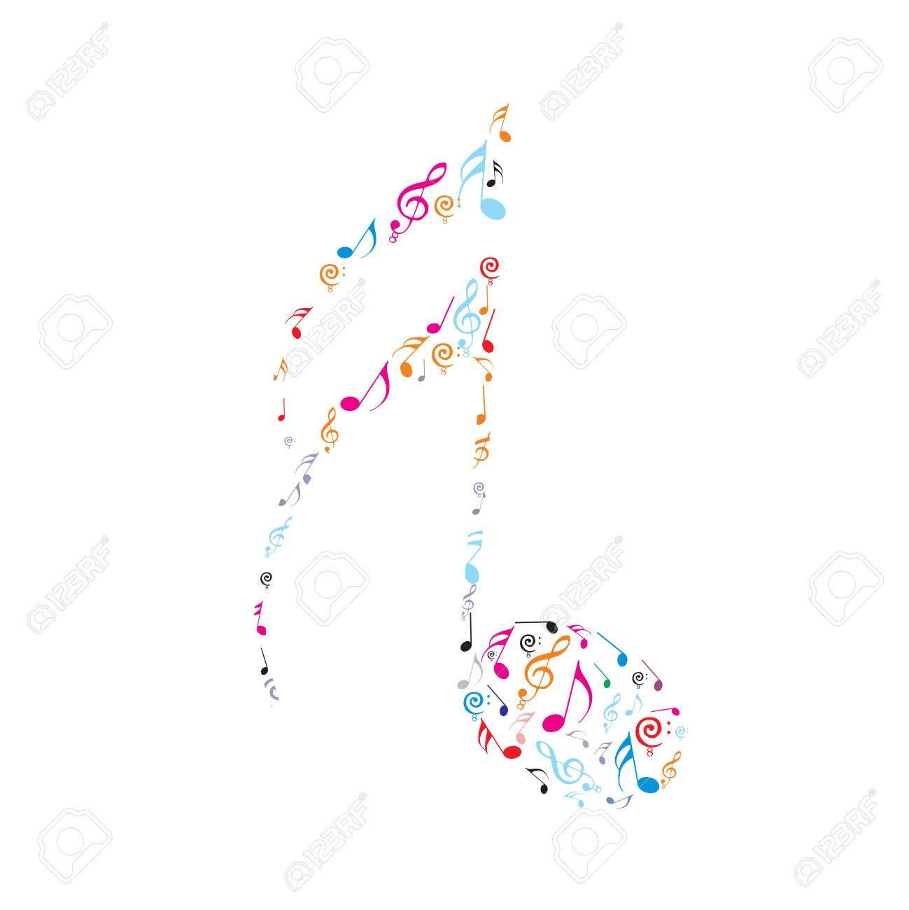 Abstract olour music notes Stock Vector - 5015239