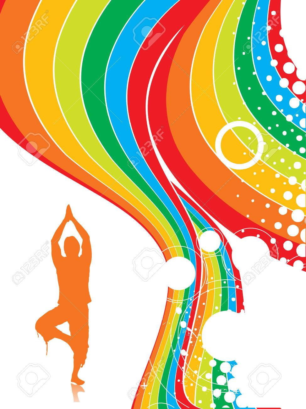 Abstract rainbow wave line background with yoga vector illustration Stock Vector - 5143848