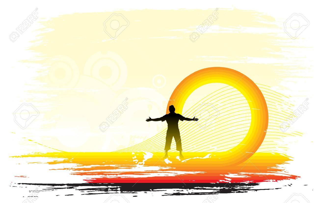 man raising his hands with sun set background, Vector illustration. Stock Vector - 5673271