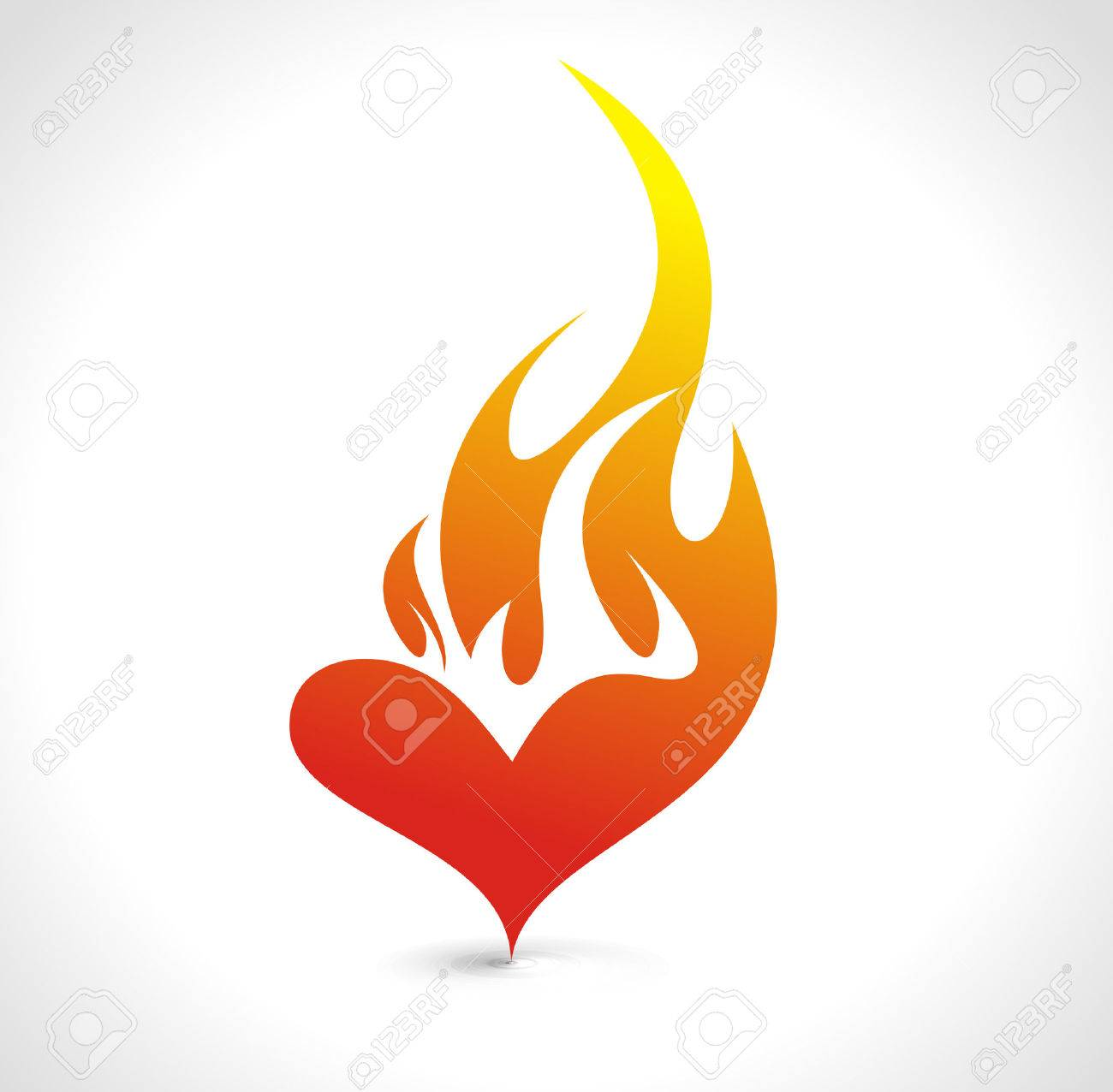 Abstract valentine's day card with fire heart background, vector illustration - 6358757
