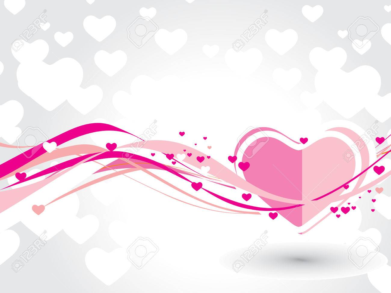 Abstract valentine's day card with wave heart line background,  illustration Stock Vector - 6379195