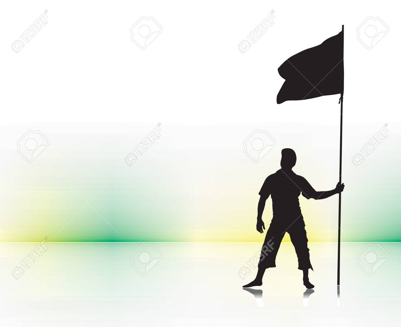 A young man holding a black flag with space of your text Stock Vector - 6474404