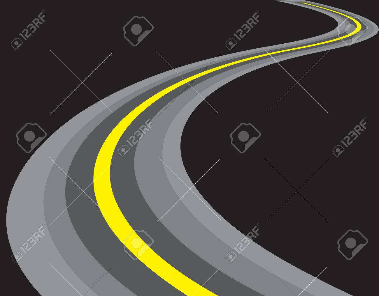 vector road illustration. isolated on black background Stock Vector - 6511834