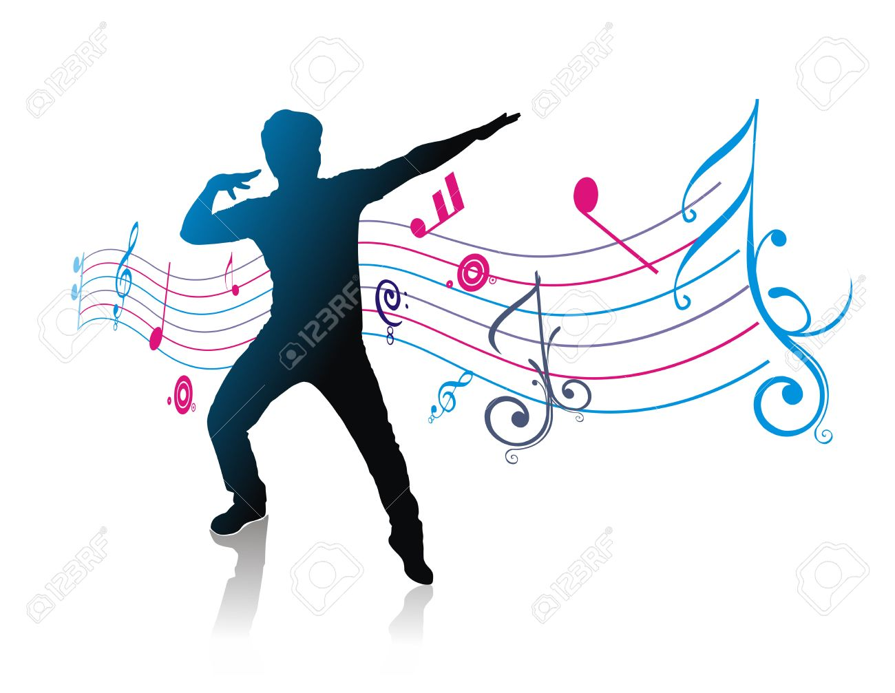 silhouetted a young man enjoy music with music note Stock Vector - 6507361
