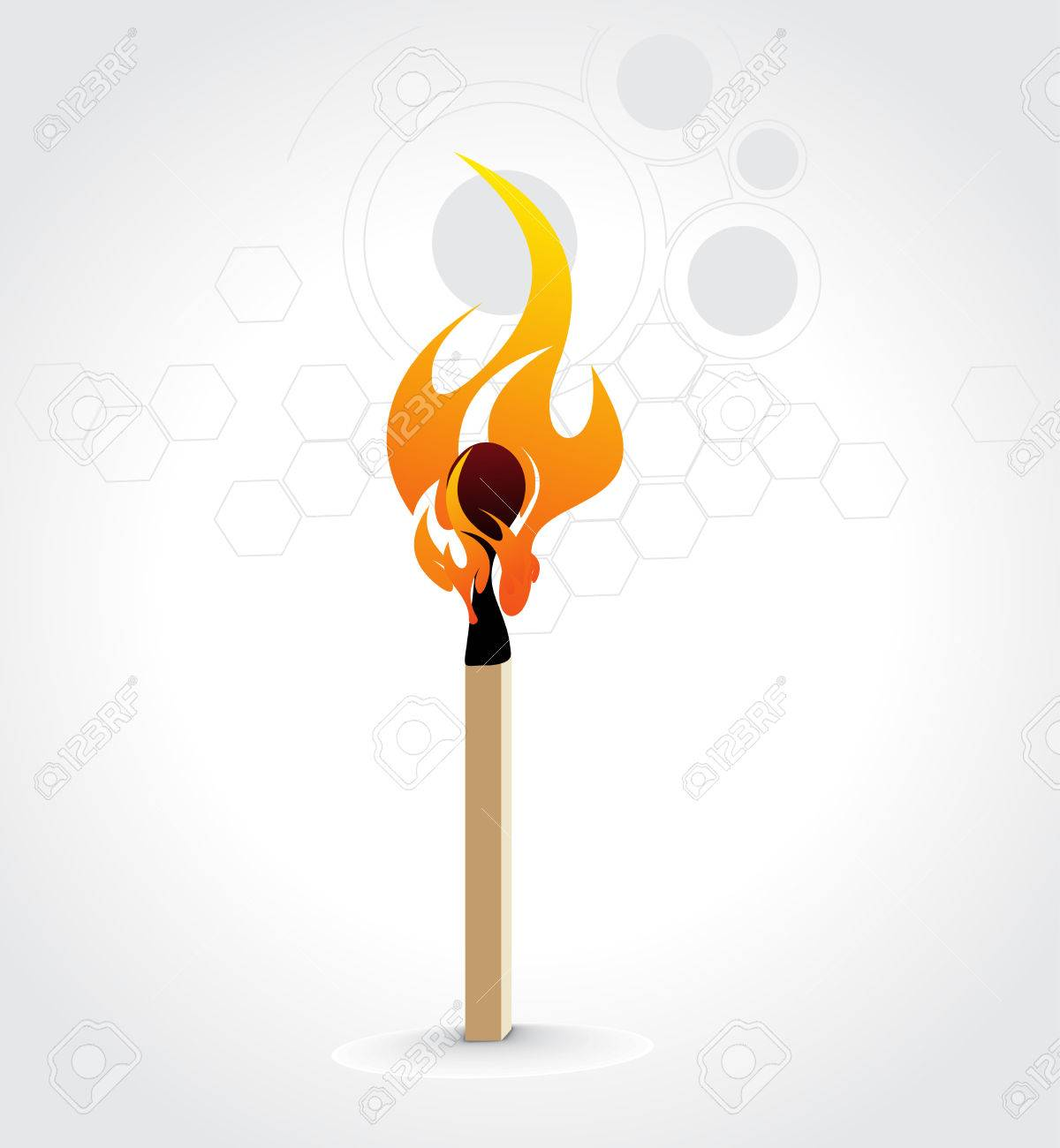 Burning match stick on a white retro circle background, vector illustration Stock Vector - 6600683