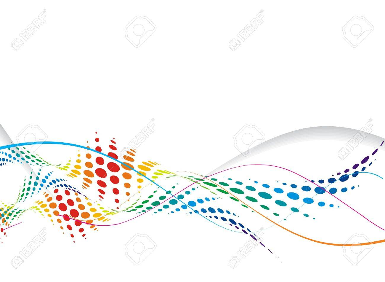 Abstract rainbow wave halftone line background, vector illustration. Stock Vector - 6691281