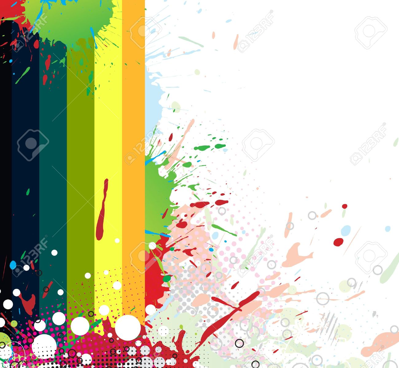 Colourful bright ink splat design with a white background.  illustration. Stock Vector - 7053261