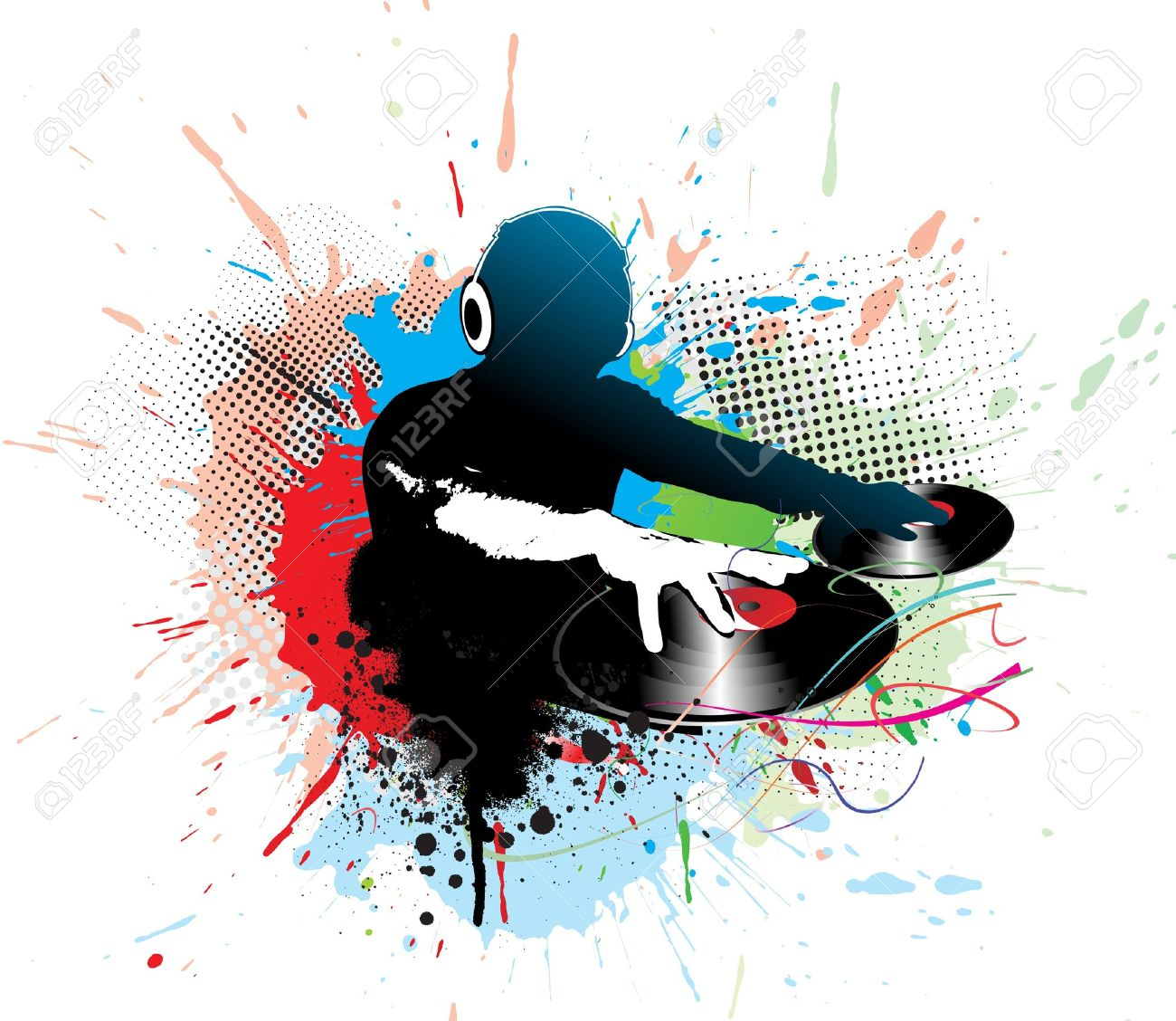 7133406 Abstract Illustration Of An Dj Man Playing Tunes With Music Note Background Stock Vector 1300x1127