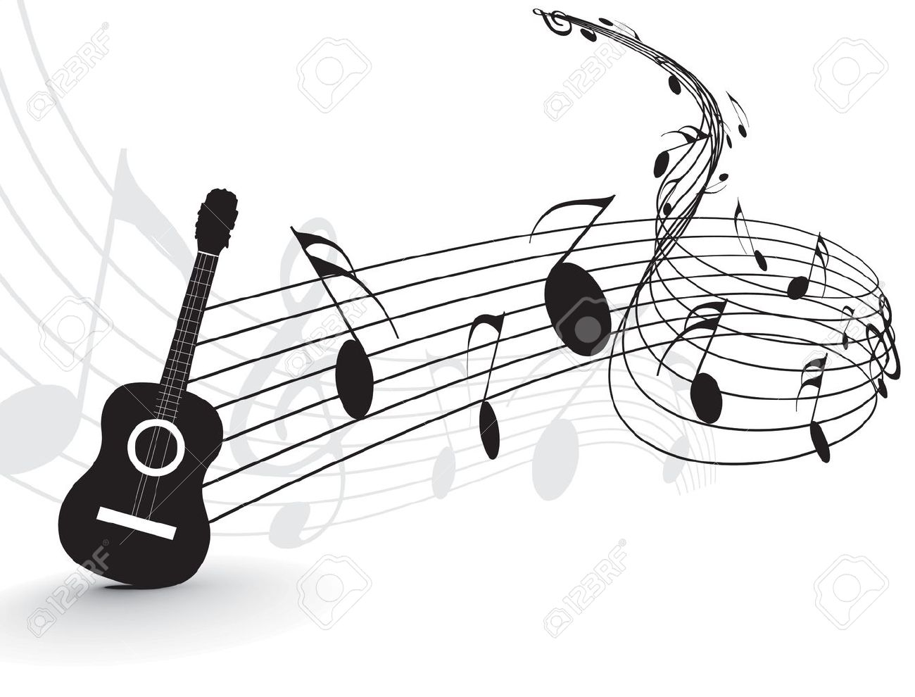 Note Musique Guitare Music Notes With Guitar Player