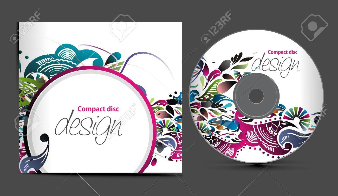 Cd Cover Design Template With Copy Space, Illustration Royalty ...