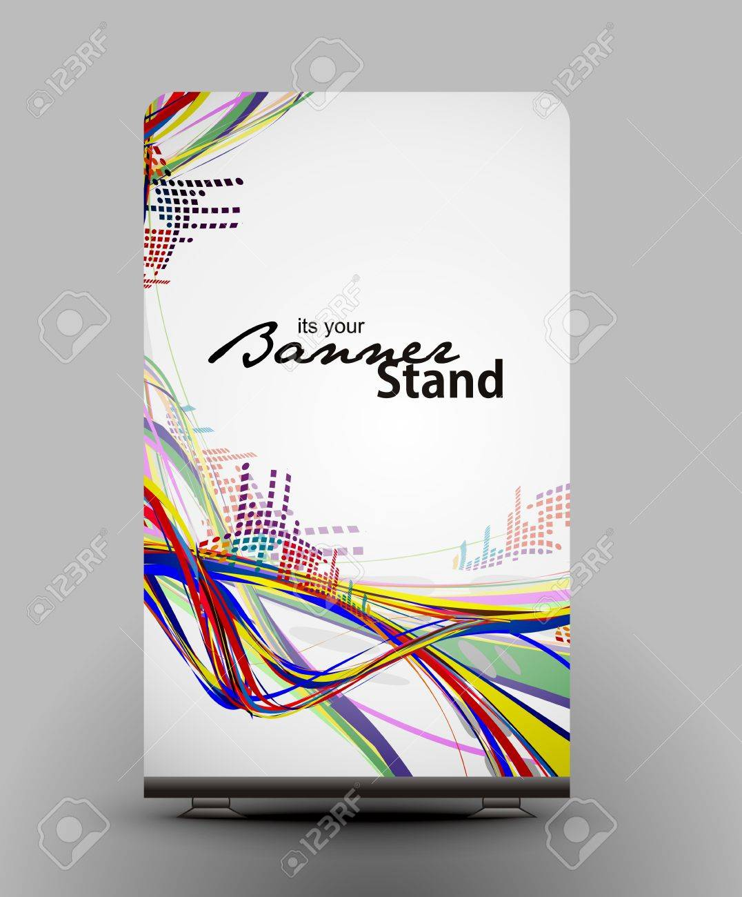 a roll up display with stand banner template design Stock Vector - 7554587