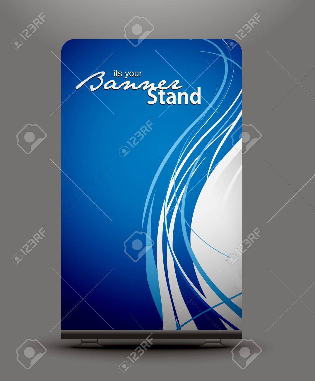 a roll up display with stand banner template design Stock Vector - 7554406