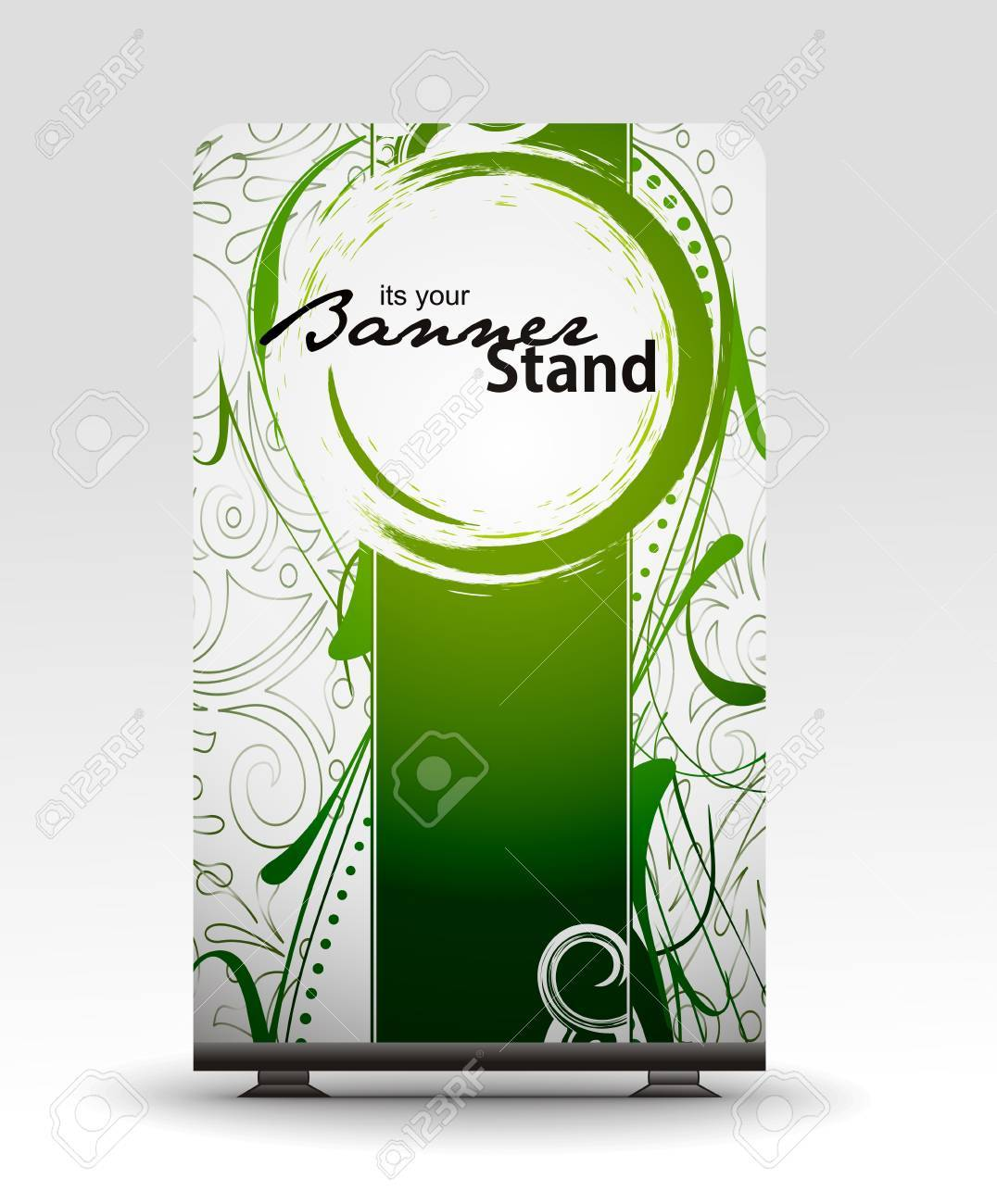 a roll up display with stand banner template design Stock Vector - 7554543