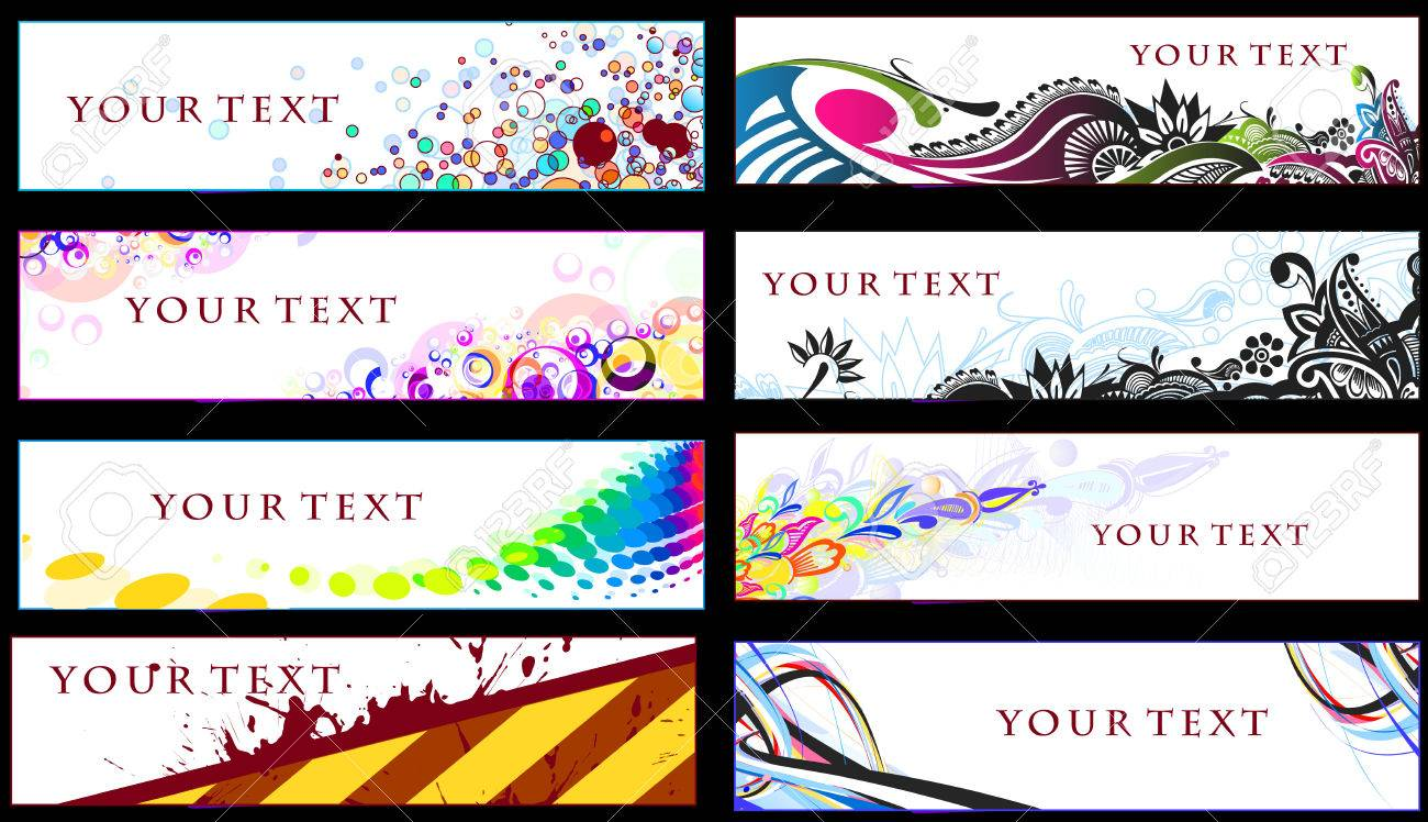 Abstract banners on 8 different themes,  illustration. Stock Vector - 8113125