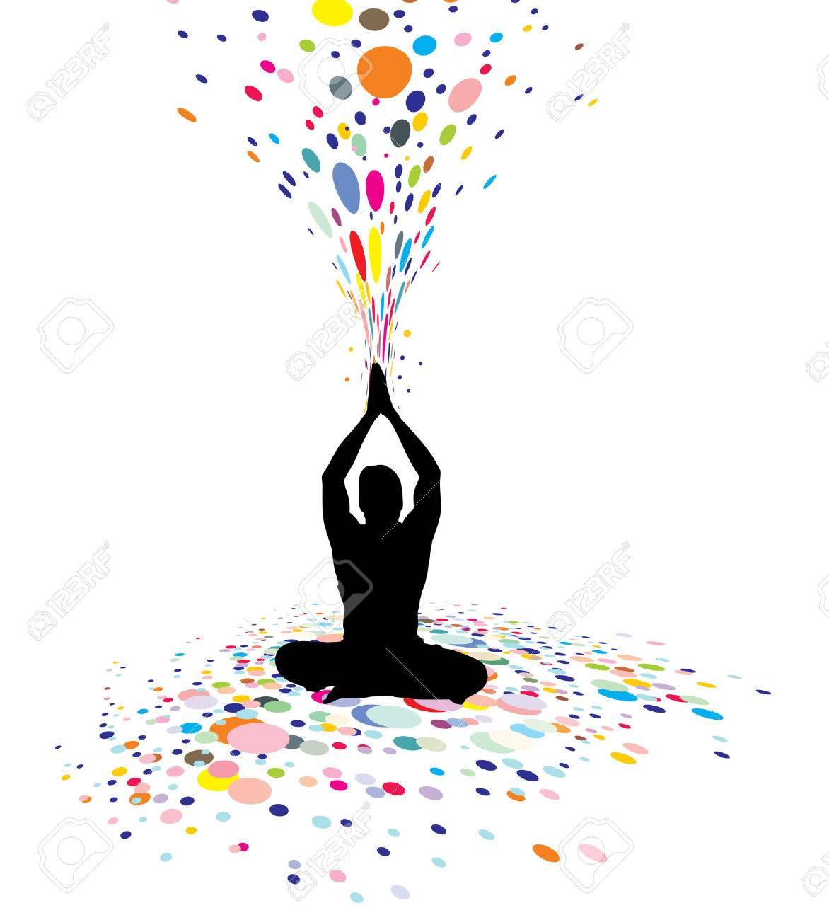 Ein Junger Mann Tun Yoga Silhouette In Erstellen Einer Natur Macht ...